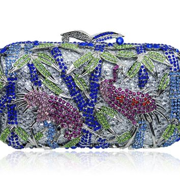 Silver Blue Birdy Crystal Wedding Clutch