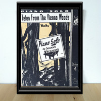 Tales From the Vienna Woods, Piano Solo Sheet Music {1940} Vintage Paper Ephemera