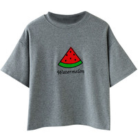 Watermelon Embroidered Short Sleeve Cropped Tee