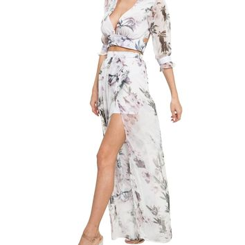 Ivory Floral V-Neck Two-Piece Maxi Dress