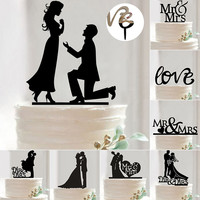 Mr & Mrs Wedding Decoration Cake Topper