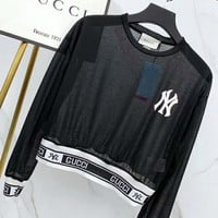 GUCCI x NY Summer Popular Women Casual Long Sleeve Perspective Prevent Bask T-Shirt Top Black