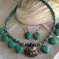 Turquoise pearl+abalone pendant shell necklace earrings set pearls beaded set hand made original design beatiful Mother's Day birthday gift