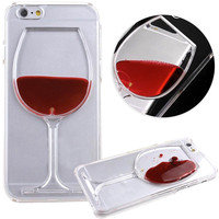 Luxury Dynamic Liquid Quicksand 3D Red Wine Glass Transparent Hard PC Back Cover Shell Case For iPhone 4 4S 5C 5 5S SE 6 6S Plus