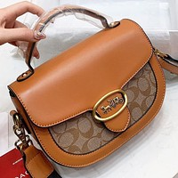Samplefine2 COACH Fashion New Pattern Leather Handbag Shoulder Bag Crossbody Bag Brown