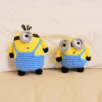 2 amigurumi minion plushies