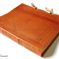 Leather Album, Sketchbook, Guestbook. Personalized, Large. Made to order. MEMORIALIS.