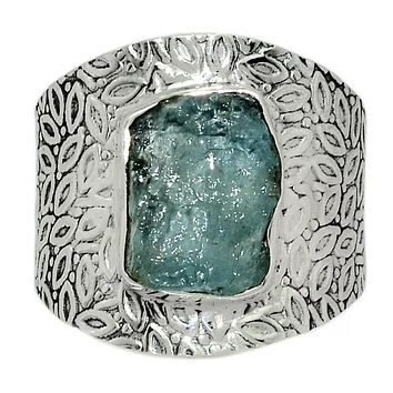 Aquamarine Rough Sterling Silver Vine Pattern Band  Ring