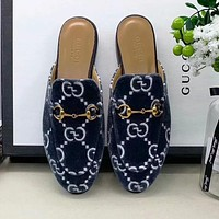 GUCCI New Ladies Casual Suede Jacquard Flat Slippers Shoes