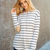 Taupe Striped Hoodie with Elbow Patches
