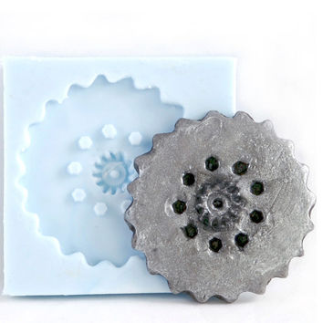Steampunk Gear Mold Gothic Jewelry DIY Resin Clay Moulds - Steampunk Cabochon Gear Embellishment