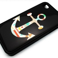 BLACK Snap On Hard Case IPHONE 4 4S Plastic Skin Cover - Mayan Aztec Anchor colorful tribal navajo sailor rainbow rope:Amazon:Cell Phones & Accessories