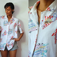Vtg Burgers & Fries American Diner Print SS Button Up Shirt