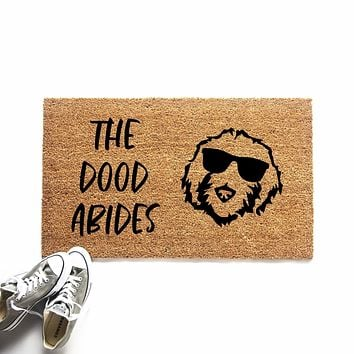 The Dood Abides Funny Goldendoodle Doormat