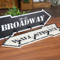 Wood Wall Mounted Hanger Clothes Hat Hook Arrow Sign B/W Broadway Wall Street