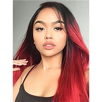 Long Red Phoenix Ombre Synthetic Lace Front Wig