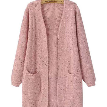 Open Front Long Sleeves Pocket Detail Knitted Coat
