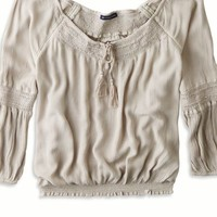 AEO Women's Boho Peasant Top