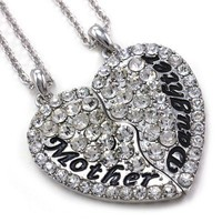 Cute Mom Mother & Daughter Best Friend Mother's Day Heart Pendant Necklace Charm