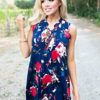 Gorgeous In This Moment Floral Short Dress Blue