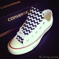 Custom Converse Low Top Sneakers Black White Chevron Chuck Taylors
