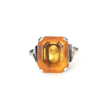 Vintage Sterling Ring, Citrine Topaz Glass, Emerald Cut, Solitaire Ring, November Birthday, Vintage Ring, Vintage Jewelry, Size 6.25