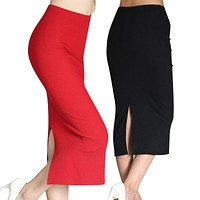 new pencil skirt womens knitted midi skirt elastic Waist mid calf korean summer autumn casual office red black female clothing