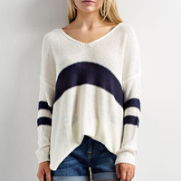 Varsity Striped Sweater -White/Navy