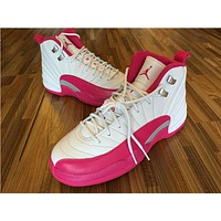 Air Jordan 12 GS white/baby pink Basketball Shoes 36-40