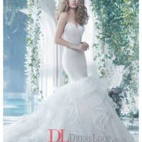 Beaded And Embroidered Elongated Bodice Cappuccino Trumpet Bridal Gown AV9414