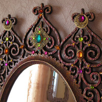 Vintage Jewelled Wall Mirror Large Hollywood Regency Exotic Moroccan Style