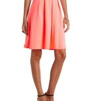 Pleated High-Waisted Full Midi Skirt by Charlotte Russe - Neon Coral