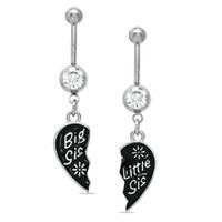 """014 Gauge Breakable """"Big Sis"""" and """"Little Sis"""" Heart Dangle Belly Button Ring Set in Stainless Steel - - View All - PAGODA.COM"""