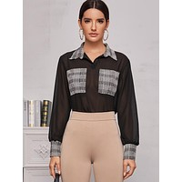 Houndstooth Panel Sheer Chiffon Blouse