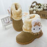 Kids Baby Girls Thicken Cute Rabbit Breathable Anti- Slip Wearable Snow Boots Fashion Casual Princess Boots Warm Shoes Winter Red Pink Yellow [9325366532]