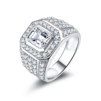 Osiris 2.5CT Emerald Cut Pavé Bezel Set IOBI Simulated Diamond Men's Ring