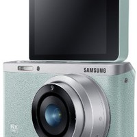 """Samsung NX Mini 20.5MP CMOS Smart WiFi & NFC Mirrorless Digital Camera with 9mm Lens and 3"""" Flip Up LCD Touch Screen (Mint Green)"""