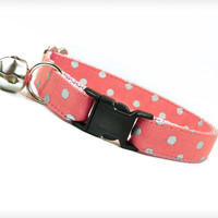 "Cat Collar - ""Rapture"" - Coral Pink w/ Silver Polka Dots"