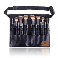 Triple Black Pro 18 PC Brush Set - Synthetic & Natural Hair with Apron - FACE BRUSHES - FACE MAKEUP - MAKEUP