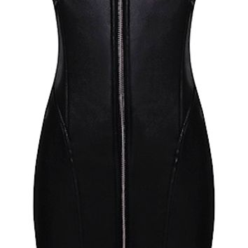 Angelina Leather Bodycon Dress - Black