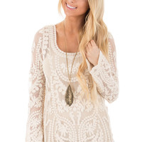 Cream Patterned Lace Detail Top