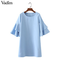 women elegant butterfly sleeve solid dress half sleeve o neck ladies fashion streetwear casual dresses vestidos QZ2818