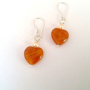 Heart Earrings,  Agate Earrings, Dangle Earrings, Minimalist  Jewelry, Birthday Gift