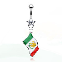 14g Dangling Mexico Flag & Clear Gem Star Belly Button Navel Ring Dangle Body Jewelry Piercing with Surgical Steel Curved Barbell 14 Gauge