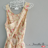 SALE - Backless Cross Back Pale Yellow floral print romance girly dress Sexy spring summer dress Cross back simply pleated dress Small