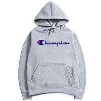 Champion Autumn and winter men's Hooded Sweater Light gray+Letters