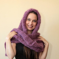 MOHAIR HOODED SCARF Extra Long Hand Knit Scarf with Hood by Solandia, purple scarf, knitting accessories women winter fashion luxury gift