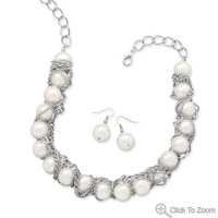 Chain Wrapped Imitation Pearl Bead Fashion Necklace and Earring Set