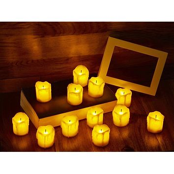 LED Flameless Votive Candles, Realistic Look of Melted Wax, Warm Amber Flickering Light - Battery Operated Candles for Wedding, Valentine's Day, Christmas, Halloween Decorations (12-Pack) Melted Wax Yellow