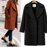 Wool coat Women's long coat windbreaker coat